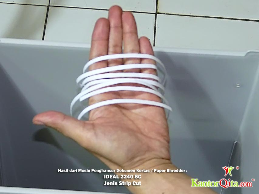 Hasil Mesin Penghancur Kertas Paper Shredder Strip Cut IDEAL 2240 SC