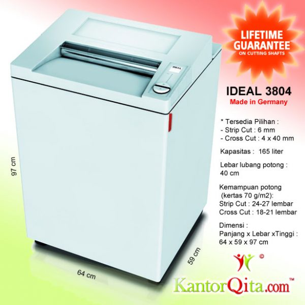 Mesin Penghancur Kertas Paper Shredder IDEAL 3804 SC Strip Cut