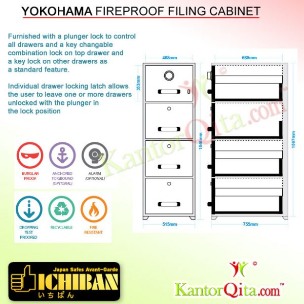Filing Cabinet ICHIBAN TB4 Yokohama Fireproof Description